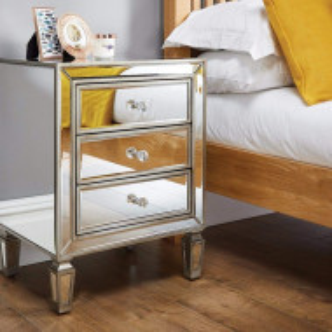 NOOG113 - Noptiera, dulap cu 3 sertare, dormitor - Oglinda - Argintiu