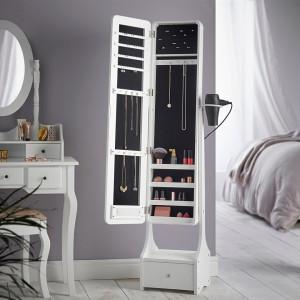 OGA120 - Oglinda caseta de bijuterii cu lumini LED, dulap, dulapior dormitor, dressing - Alb