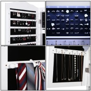 OGA204 - Oglinda caseta de bijuterii cu LED, dulap, dulapior cu picioare dormitor, dressing - Alb