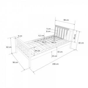 PAA201 - Pat alb pentru o persoana, dormitor - 90 x 200 cm