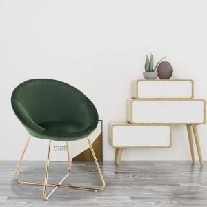 SCAU207 - Scaun masuta toaleta machiaj cosmetica tapitat - Auriu - Verde