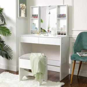 SEA281 - Set Masa alba toaleta, 90 cm, cosmetica machiaj cu oglinda, masuta vanity- Aba