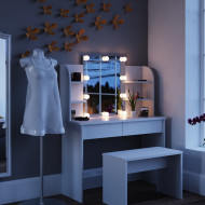 SEA359 - Set Masa alba toaleta cosmetica machiaj oglinda cu LED, masuta vanity cu incarcare Qi