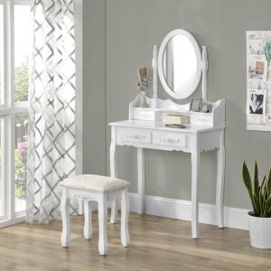 SEA408 - Set Masa alba toaleta cosmetica machiaj oglinda masuta, scaunel taburet tapitat
