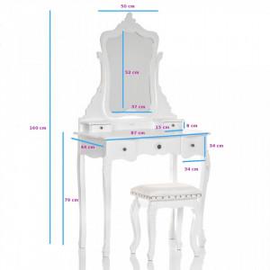 SEA501- Set Masa Alba toaleta cosmetica machiaj oglinda masuta, scaunel taburet tapitat