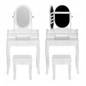 SEA518 - Set Masa alba toaleta, 75 cm, cosmetica machiaj oglinda caseta bijuterii, masuta vanity, scaunel, taburet tapitat