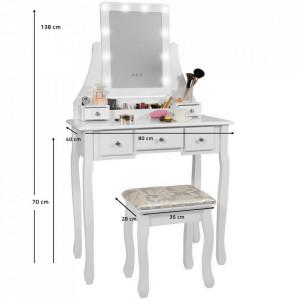 SEA531 - Set Masa alba toaleta, 80 cm, cosmetica machiaj oglinda cu LED, masuta vanity, scaunel, taburet tapitat