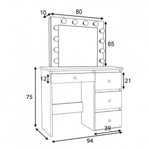 SEA538 - Set Masa toaleta, 94 cm, cosmetica machiaj oglinda masuta vanity, oglinda cu LED-uri cu sau fara scaun - Alb
