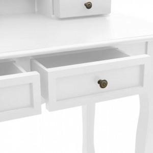 SEA69 - Set Masa toaleta, 100 cm, cosmetica machiaj cu oglinda si scaun, masuta vanity - Alb