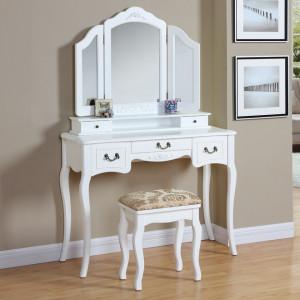SEC101 - Set Masa Ivory/Crem toaleta cosmetica machiaj oglinda masuta