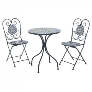 SEGG102 - Set Masa si 2 scaune pliante Mozaic gradina, terasa, balcon - Gri