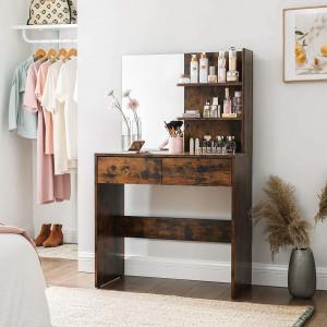 SEM224 - Set Masa toaleta, 80 cm, cosmetica machiaj cu oglinda, masuta vanity - Maro stil industrial
