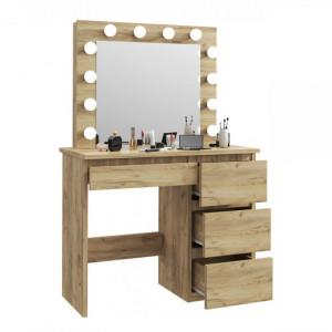SEM502 - Set Masa toaleta cosmetica machiaj oglinda masuta vanity, oglinda cu LED-uri cu sau fara scaun - Culoarea Stejar