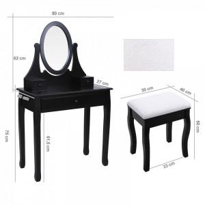 SEN101 - Set Masa neagra toaleta cosmetica machiaj oglinda masuta