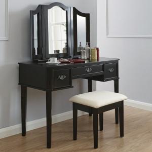 SEN115 - Set Masa Neagra toaleta cosmetica machiaj oglinda masuta, scaun, taburet tapitat