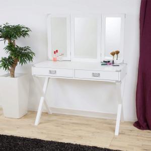 SEN226 - Set Masa toaleta, 106 cm, cosmetica machiaj, oglinda, masuta vanity, comoda make-up: Alb sau Negru
