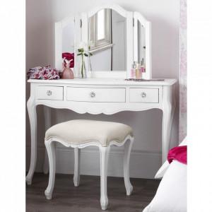 SEA152 - Set Masa alba toaleta cosmetica machiaj oglinda masuta cu scaun tapitat. manere tip cristal - Colectia Genova