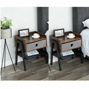 NOI201 - Set 2x noptiere pentru dormitor cu 1 sertar, industrial - Maro