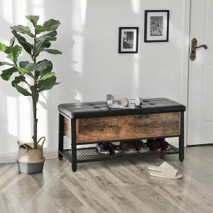 BAI2 - Bancuta tapitata 100 cm, pentru hol sau living, pantofar, bancuta depozitare - Maro