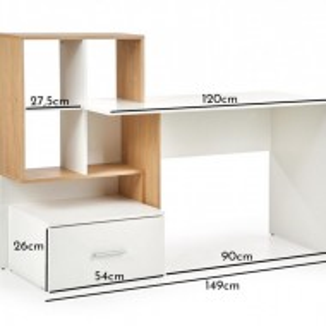 BIA505 - Masa de Birou 149 cm, office - Alb cu Maro