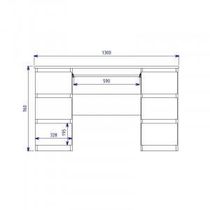 BIM501 - Masa de Birou 130 cm, office - Sonoma, Stejar si Gri