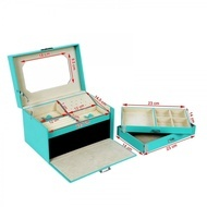 CJT201 - Cutie cutiuta bijuterii cu oglinda, depozitare ceasuri, imitatie piele - Turcoaz
