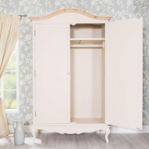 DUC106 - Dulap crem, sifonier dormitor dublu cu bara pentru umerase, manere tip cristal - Colectia Genova