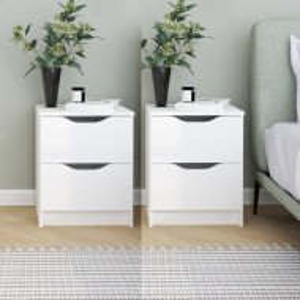 NOA507 - Set noptiere albe 40 cm, cu 2 sertare, dormitor - Alb