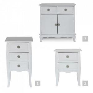 NOA604 - Set 2 Noptiere albe, 40 cm, cu 2 sertare pentru dormitor