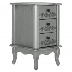 NOG101 - Noptiera, dulap cu 3 sertare cu manere, butoni metalici si detaliu floral- Argintiu