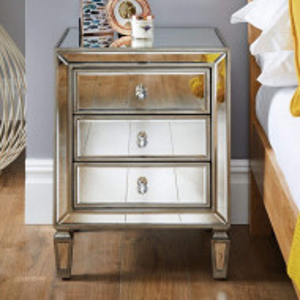 NOOG113 - Noptiera 50 cm, cu 3 sertare, dormitor - Oglinda - Argintiu