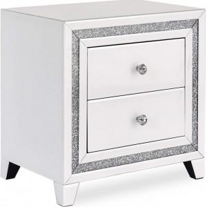 NOOG126 - Noptiera 50.5 cm, cu 2 sertare, dormitor - Oglinda - Argintiu