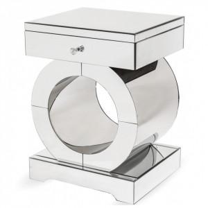 NOOG508 - Noptiera oglinda 45 cm, cu 1 sertar, dormitor - Oglinda - Argintiu