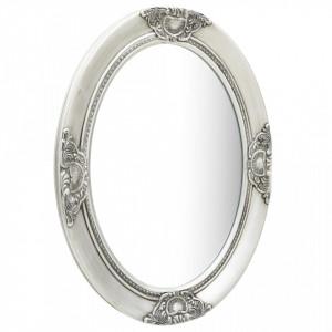 OGG3 - Oglinda ovala 50x70 cm, pentru perete ornamentala dormitor, living, baie - Argintie