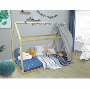 PAAC5 - Pat casuta pentru 1 persoana, dormitor copii - 90 x 200 cm - Maro