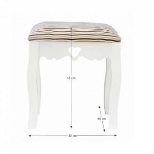 SCA601 - Scaunel tapitat, scaun, taburet masuta, masa toaleta, machiaj - Alb