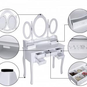 SEA113 - Set Masa alba toaleta cosmetica machiaj oglinda masuta