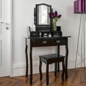 SEA132 - Set Masa toaleta cosmetica machiaj oglinda masuta - Alb sau Negru