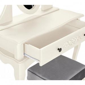 SEA151 - Set Masa crem toaleta cosmetica machiaj oglinda masuta vanity make up si scaunel scaun taburet tapitat