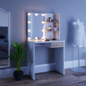 SEA276 - Set Masa toaleta 75 cm, cosmetica machiaj oglinda cu sau fara LED, masuta vanity Alb-Maro