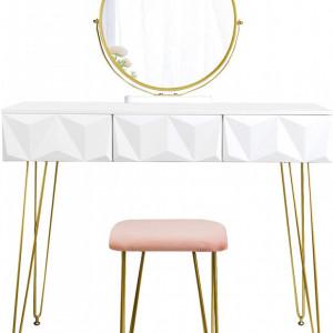 SEA298 - Set Masa toaleta, 100 cm, cosmetica machiaj cu oglinda si scaun, masuta vanity - Alb