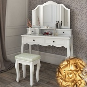 SEA302 - Set Masa alba toaleta cosmetica machiaj oglinda masuta vanity