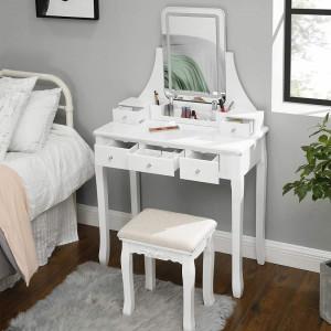 SEA338 - Set Masa toaleta, 80 cm, cosmetica machiaj cu oglinda cu LED si scaun, masuta vanity - Alb