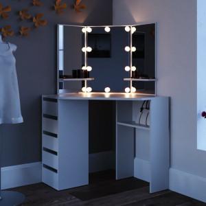 SEA354 - Set Masa alba toaleta cosmetica machiaj oglinda cu LED, masuta vanity pe colt cu incarcare USB