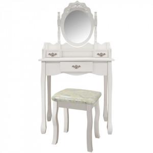 SEA406 - Set Masa alba toaleta cosmetica machiaj oglinda masuta vanity, scaunel, taburet tapitat