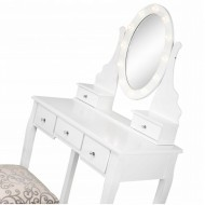 SEA506 - Set Masa alba toaleta cosmetica machiaj oglinda masuta vanity, oglinda cu LED-uri