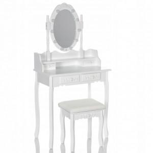 SEA517 - Set Masa alba toaleta, 75 cm, cosmetica machiaj oglinda cu LED, masuta vanity, scaunel, taburet tapitat