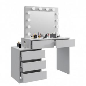 SEA539 - Set Masa toaleta, 112 cm, cosmetica machiaj oglinda masuta vanity, oglinda cu LED-uri cu sau fara scaun - Alb