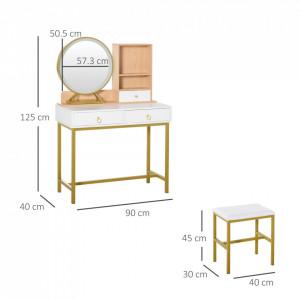 SEA70 - Set Masa toaleta, 90 cm, cosmetica machiaj, oglinda cu LED si scaun, masuta vanity - Alb-Auriu