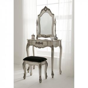 SEG106 - Set Masa Argintie toaleta cosmetica machiaj oglinda masuta, scaun, taburet tapitat